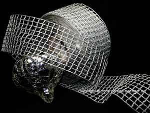 Gitterband Grobgitter Silber ohne Draht 65mm