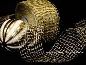 Gitterband Grobgitter Gold ohne Draht 65mm