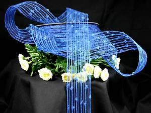Gitterband Knotengitter Blau ohne Draht 55mm