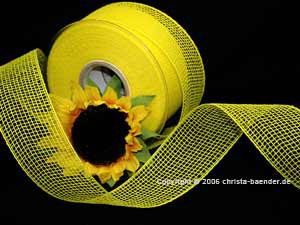Gitterband Feingitter Gelb ohne Draht 50mm
