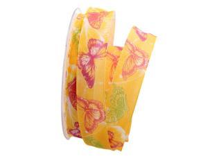 Motivband Farfalla gelb 25mm mit Angelschnur - Geschenkband günstig online kaufen!