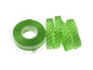 Motivband Punkteband Hellgrün  mit Draht 15mm - Geschenkband günstig online kaufen!
