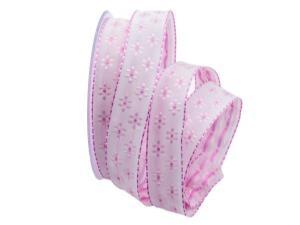 Blumenband Little Flowers rosa 25mm mit Angelschnur
