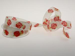 Motivband Rosen rot  25mm mit Draht - Geschenkband günstig online kaufen!