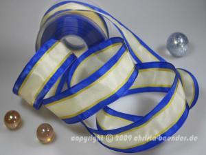 Streifenband Rain Blau mit Draht 40mm
