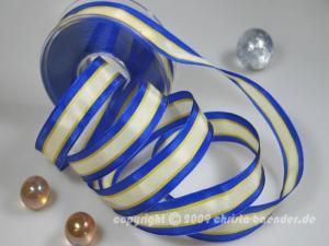 Streifenband Rain Blau mit Draht 25mm