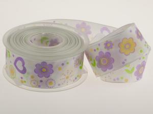 Motivband Flower Power flieder mit Draht 40 mm - Geschenkband günstig online kaufen!