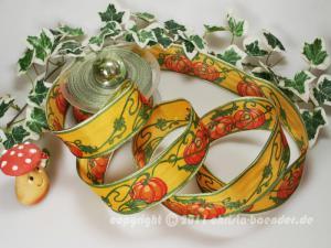 Motivband Kürbis Gelb Orange mit Draht 40mm