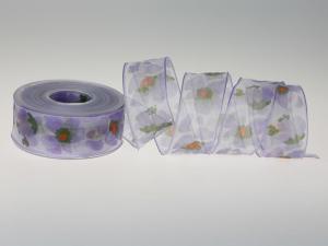 Blumenband Veilchen flieder 40mm mit Draht - Schleifenband günstig online kaufen!