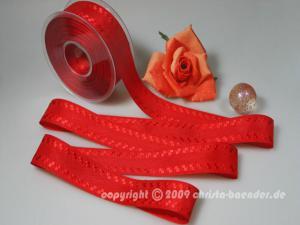 Motivband Trentino Rot ohne Draht 40mm