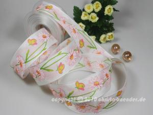 Blumenband Magariten Rosa mit Draht 40mm