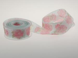 Motivband Rosen türkis  40mm mit Draht - Geschenkband günstig online kaufen!