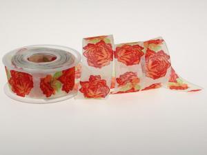 Motivband Rosen rot 40mm mit Draht