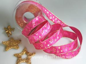 Weihnachtsband Gold-Sterne Pink mit Draht 25mm