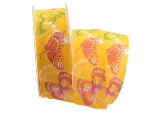 Motivband Farfalla gelb 40mm mit Angelschnur