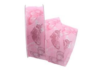 Motivband Farfalla rosa 40mm mit Angelschnur