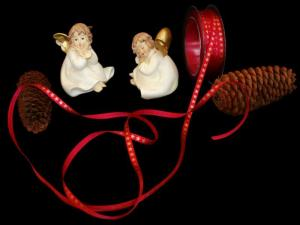 Weihnachtsband Christmas-Bändchen Karminrot ohne Draht 6mm
