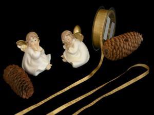 Weihnachtsband Christmas-Bändchen Honig ohne Draht 6mm