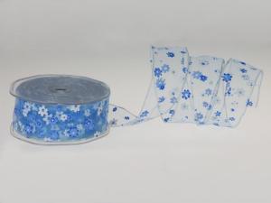 Motivband Flowerpower Blau mit Draht 40mm