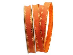 Dekoband Trapuntato orange 15mm mit Draht