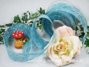 Tischband Sisal Hellblau ohne Draht 60mm