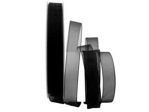 Organzaband Luminoso schwarz 15mm ohne Draht - Schleifenband günstig online kaufen!
