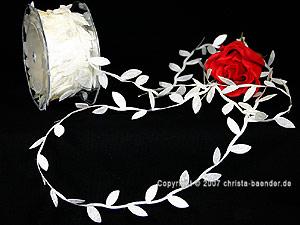 Motivband Blättergirlande Weiß ohne Draht 26mm