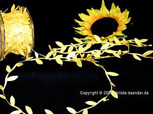 Motivband Blättergirlande Gelb ohne Draht 26mm