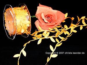 Motivband Blättergirlande Orange ohne Draht 26mm