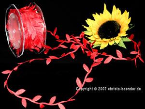 Motivband Blättergirlande Rot ohne Draht 26mm