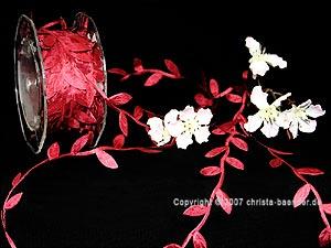 Motivband Blättergirlande Bordeaux ohne Draht 26mm