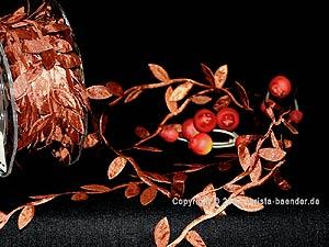 Motivband Blättergirlande Braun ohne Draht 26mm