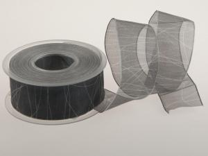 Trauerband Organza, grau 40 mm mit Draht
