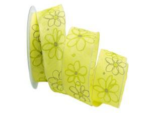 Motivband moderne Blume gelb 40mm mit Draht