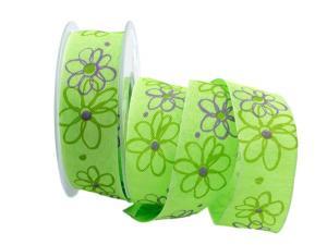 Motivband moderne Blume hellgrün 40mm mit Draht