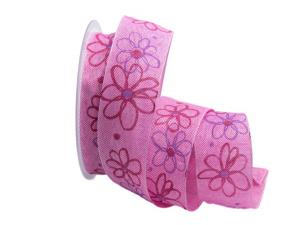 Motivband moderne Blume pink 40mm mit Draht