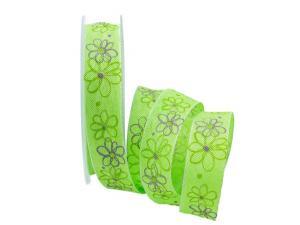 Motivband moderne Blume hellgrün 25mm mit Draht