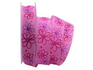 Motivband moderne Blume pink 25mm mit Draht
