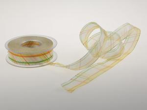 Organzaband Stripes and Lines weiss mit Draht  25 mm - Geschenkband günstig online kaufen!
