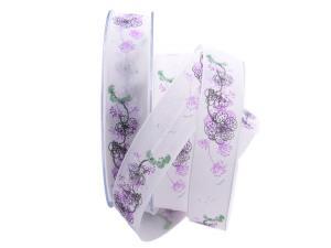 Blumenband Mainau flieder 25mm mit Draht