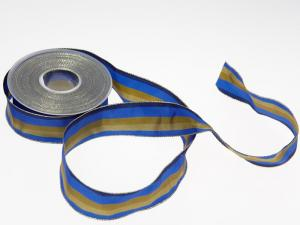 Weihnachtsband Blockstreifen Blau mit Draht 40mm