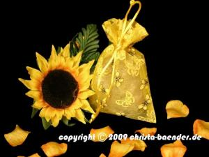 Butterfly-Organzasäckchen Gelb 10 Stück 10cm x 15 cm