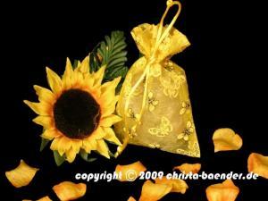 Butterfly-Organzasäckchen Gelb 10 Stück 12,5cm x 17,5 cm