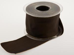 Uniband Goldkante Braun mit Draht 70mm