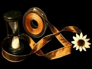 Uniband Goldkante Amerika Dunkelbraun mit Draht 25mm