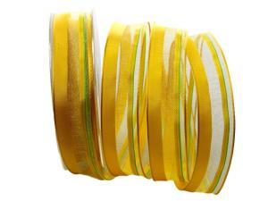 Organzastreifen gelb mit Draht 25mm