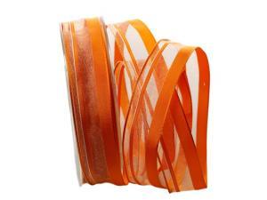 Organzastreifen orange mit Draht 25mm