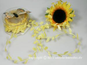 Motivband Blättergirlande Pastellgelb ohne Draht 26mm
