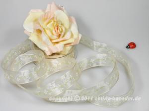 Motivband Springtime Creme mit Draht 25mm - im Bänder Großhandel günstig kaufen!