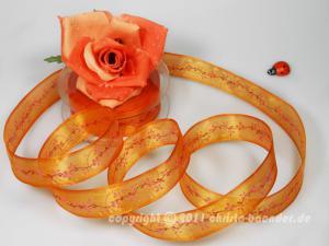 Motivband Springtime Orange mit Draht 25mm - im Bänder Großhandel günstig kaufen!